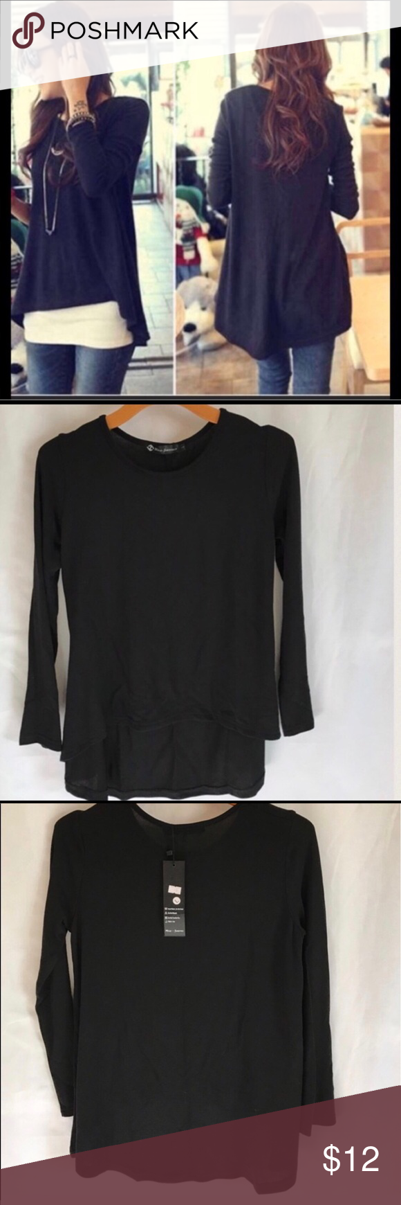 Soft Black High/Low Sweater Long Sleeves | Black sweaters, The ...