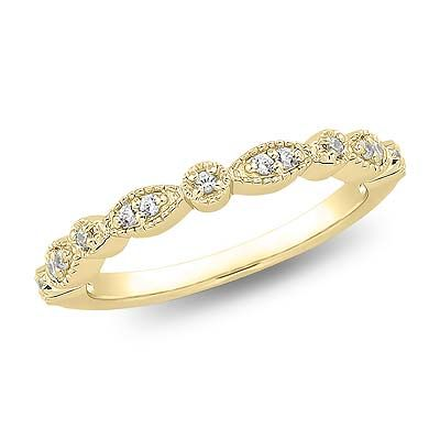 This feminine Victorian-styled yellow gold diamond band features a delicate pattern enhanced by brilliant diamonds.  Click on the picture for more details.