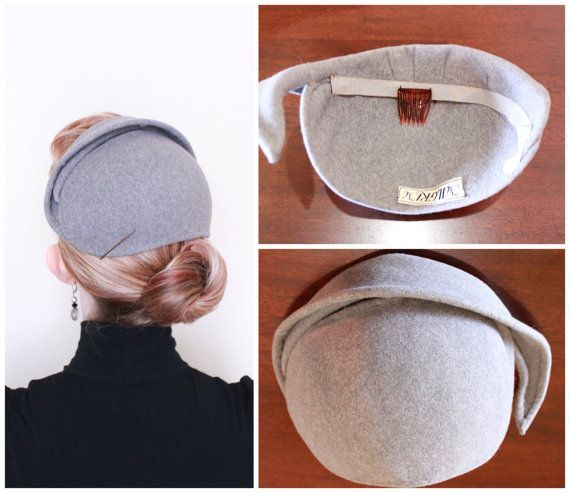 Hats for Women  1950s Hat  VINTAGE  50s Hat   Grey   Felted Wool b ... 61556dc32bc