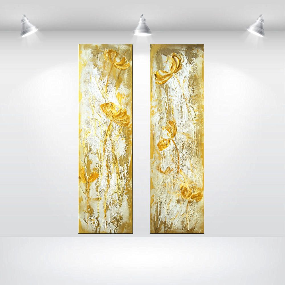 Large Abstract Painting acrylic Painting Original white gold 3 parts ...
