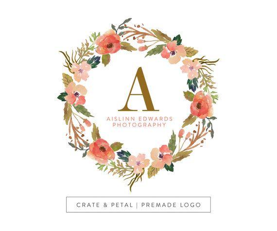 premade logo design vintage floral wreath logo