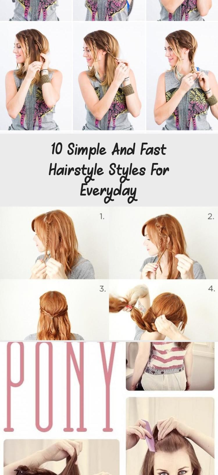 10 Simple And Fast Hairstyle Styles For Everyday Hair Styles 10 Simple And Fast Hairstyle Styles For In 2020 Fast Hairstyles Cute Everyday Hairstyles Hair Styles