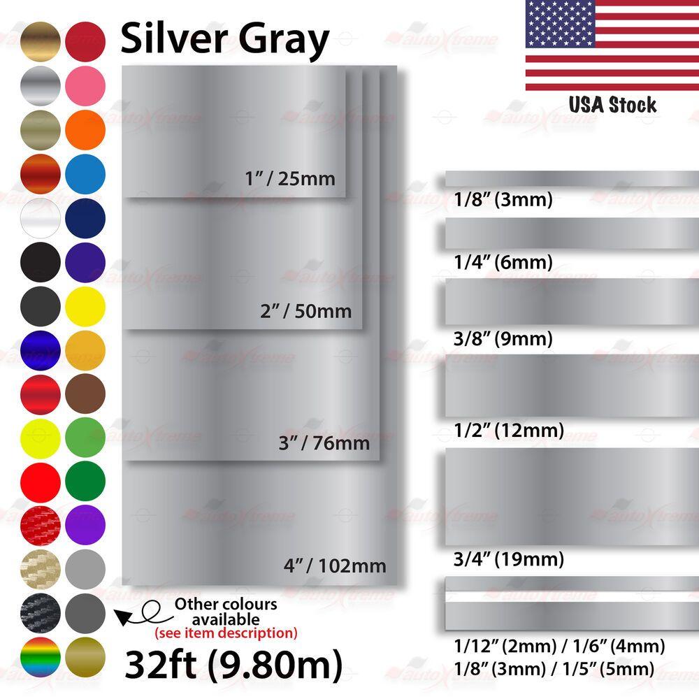 1 8 4 Pin Stripe Car Model Bike Truck Line Tape Vinyl Stickers Silver Gray Unbrandedgeneric Vinyl Sticker Gold Chrome Custom