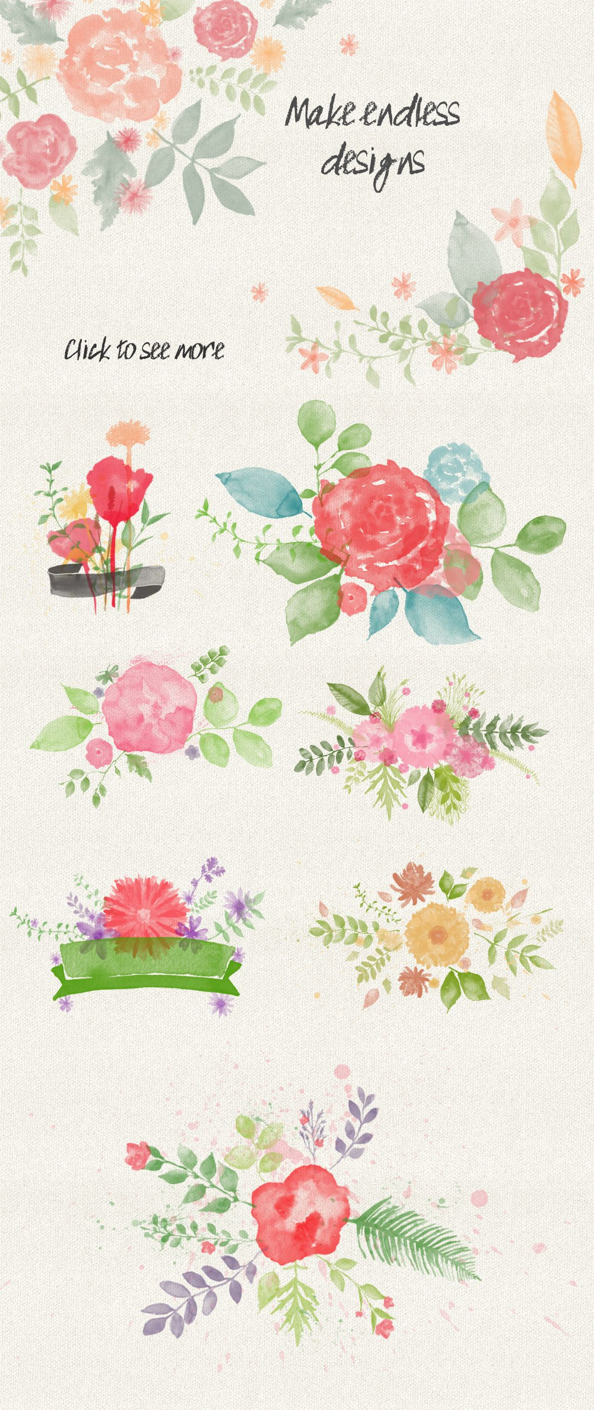 Floral Watercolor Ps Stamp Brushes Avec Images Aquarelle