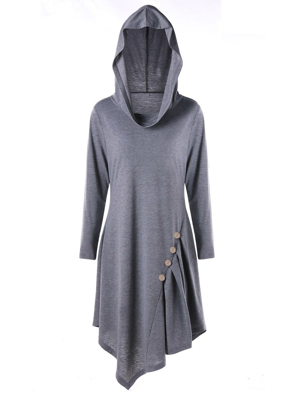 b51056bfa48 Plus Size Buttons Asymmetric Long Sleeve Hooded T-shirt - GRAY 5XL