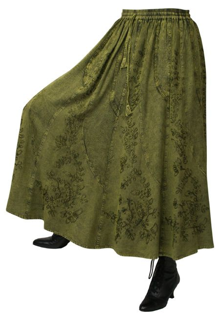 Swirl Skirt Forest Green Dress Up Costumes Fashion Outfits Period Outfit