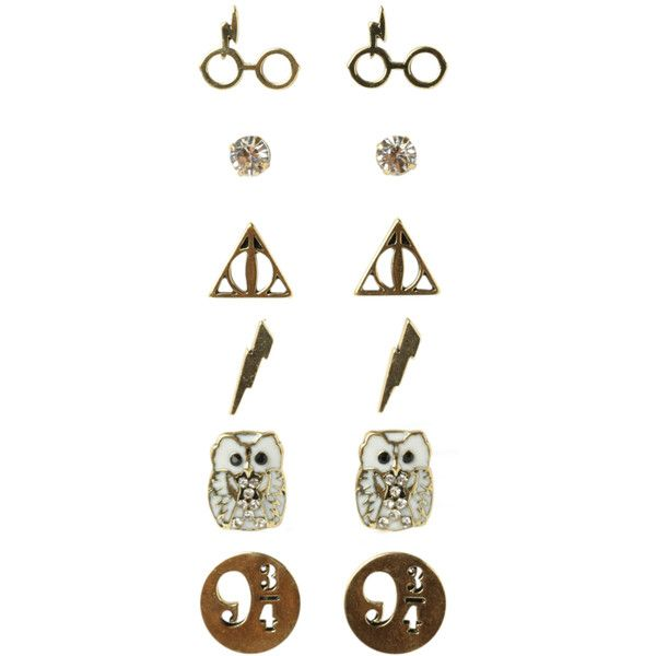 WB Harry Potter Earrings 6 Pair Set 36 BRL liked on Polyvore