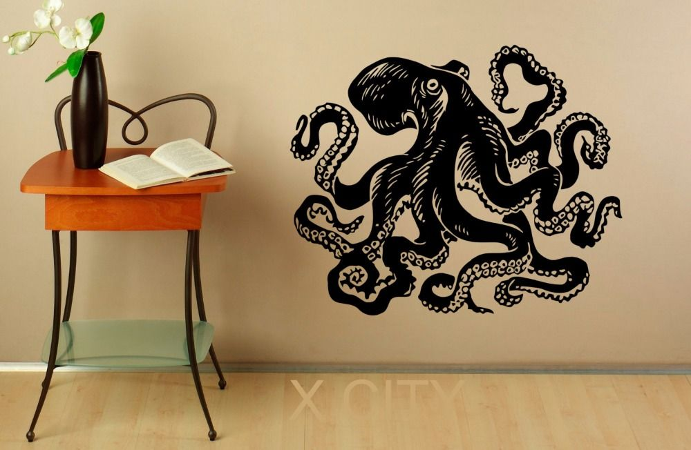 cheap wall art octopus decal ocean monster vinyl stickers decals