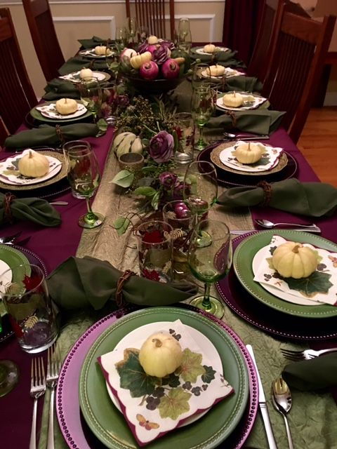 Pin By Cathi Basler On Green Eggplant Thanksgiving Tablescape Thanksgiving Table Harvest Decorations Purple Table Settings