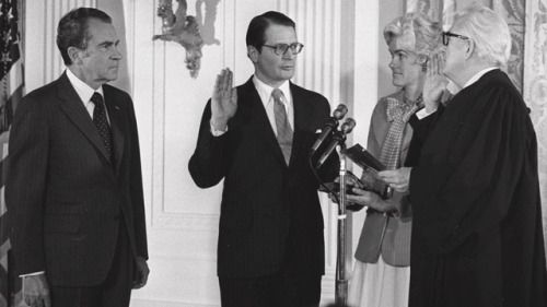 Attorney General Elliott Richardson being sworn into office, 1973. He later resigned rather than follow Nixon's order to fire the man investigating the President.