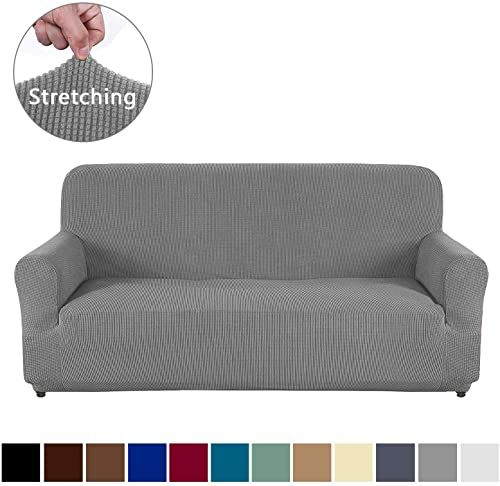 New Aujoy Couch Cover Stretch 1 Piece Sofa Slipcover For 3 Cushion Couch Jacquard Spandex Fabric Furniture Protector In 2020 Couch And Loveseat Set Love Seat Foam Sofa