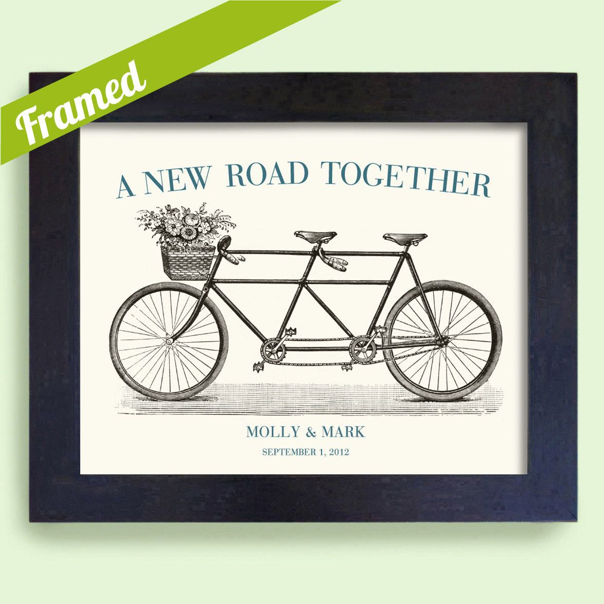 Custom Framed Wedding Gift for Couples Martha Stewart Bicycle for Two Bridal Shower. $38,00, via Etsy.