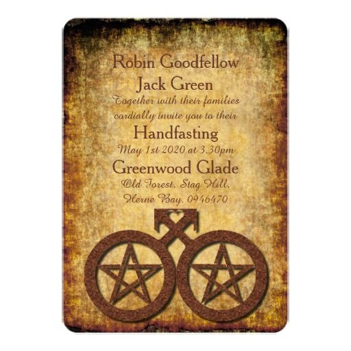 Handfasting Invitation: Wiccan Rustic Gay Handfasting Invitation Pentacles