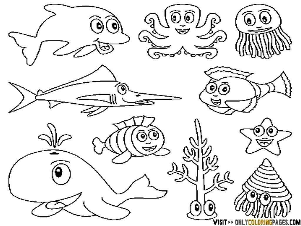 underwater animal coloring pages | Bedroom mural | Pinterest | Zeichnen