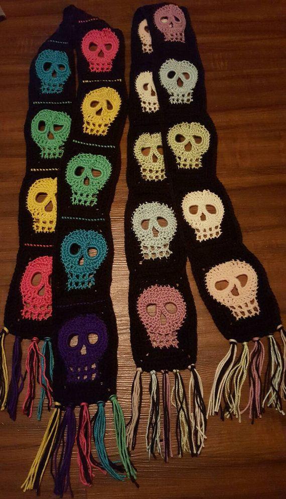 Handmade Crochet Colorful Skull Scarf | yo | Pinterest | Bufandas de ...