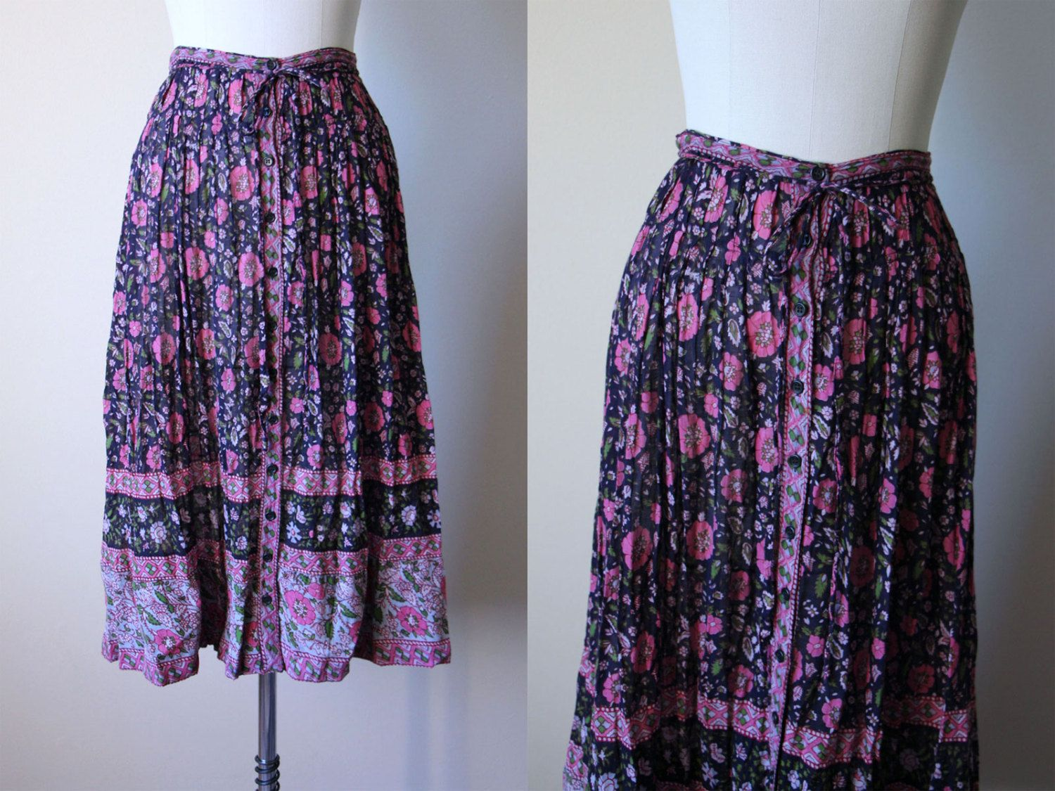 Vintage 1970/'s 1980/'s Skirt Pink Lavender Home Made Of Cotton