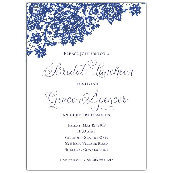 Navy Lace Bridal Luncheon Invitations