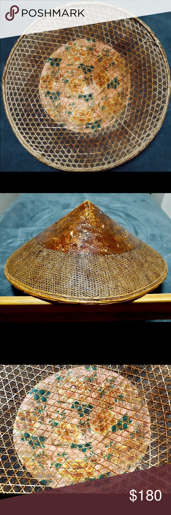 Vintage Asian 1900s Eve Paddy Bamboo Straw Hats Hats Vintage Straw Hat Vintage