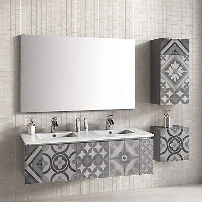 Meuble de salle de bain Antic gris et gris foncé 120 x 45 x 35 cm - joint noir salle de bain