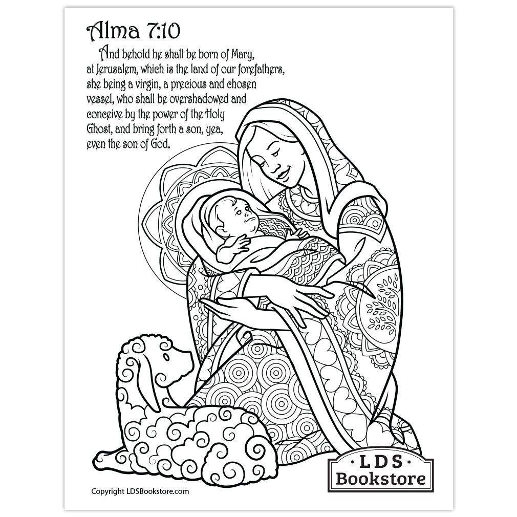 Mary & Baby Jesus Coloring Page Printable in 2020