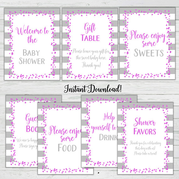 Pink And Grey Baby Shower Signs 14 Baby Shower Signs Girl Baby