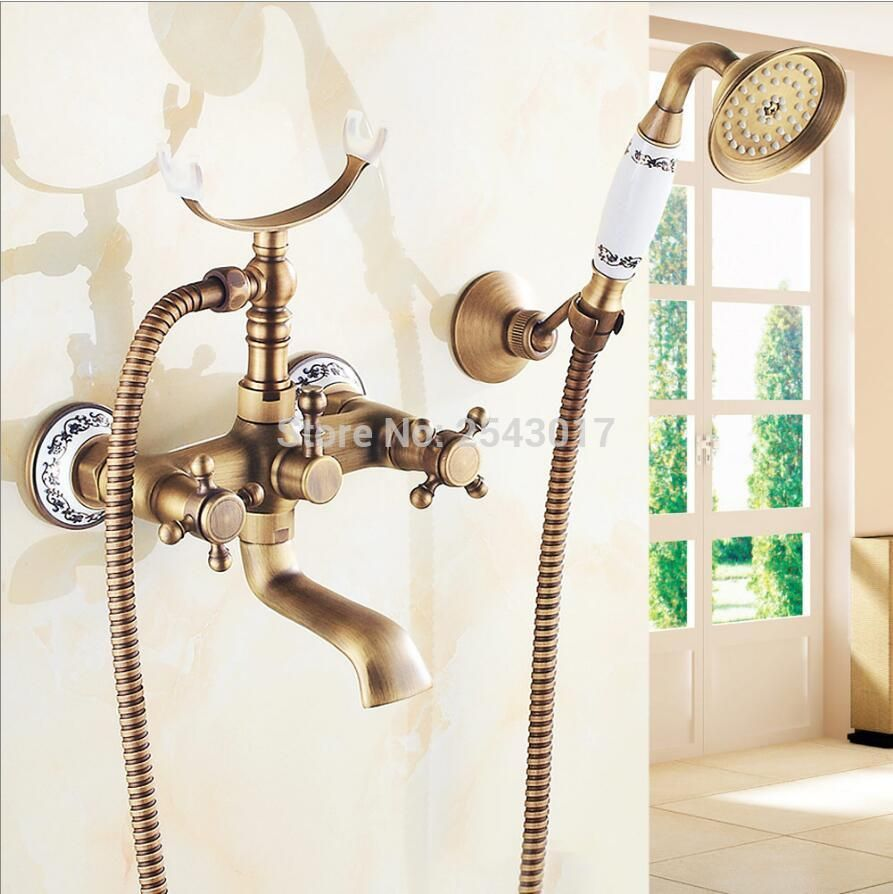 Royal Style Antique Brass Shower Faucet Wall Mounted Ceramic Hand ...