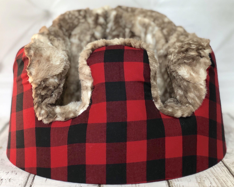 Buffalo plaid with fawn minky bumbo seat cover bumbo