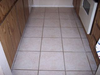 The Dark Brown Grout In This Ceramic Tile Floor Gilbert Arizona Is Actually Supposed To Be White Color Before Cleaning With Desert And
