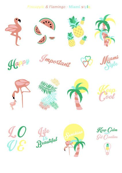 Stickers Ete Miami Style Flamant Rose Ananas Pasteque