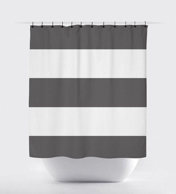 Gray Stripe Modern Shower Curtain Fabric Shower Curtain High Quality Fabric Curtains Fabric Shower Curtains Striped Shower Curtains Modern Shower Curtains
