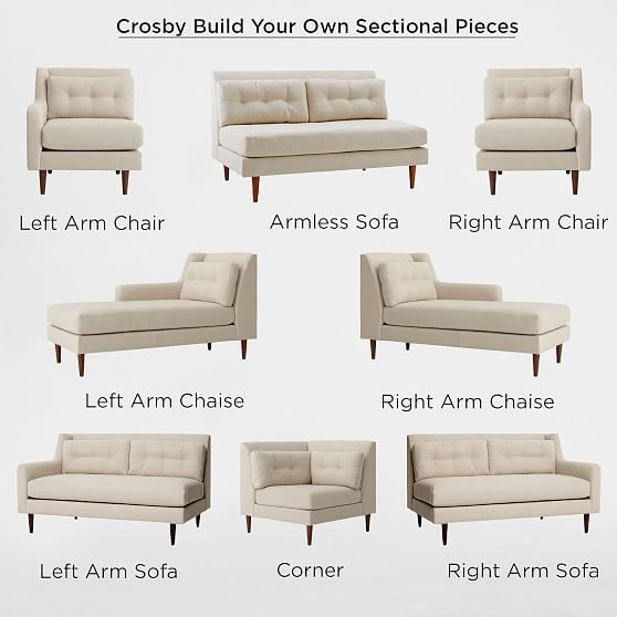 Build Your Own Crosby Mid Century Sectional Pieces