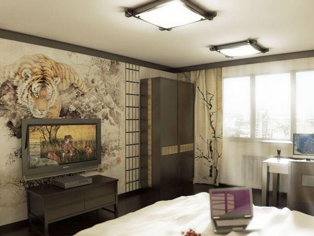 Wandgestaltung Jugendzimmer Idee Japanischer Stil Tapete Tiger