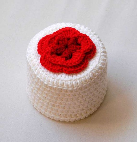 Cottage Rose Crochet Toilet Paper Cover Red Flower Bathroom Home