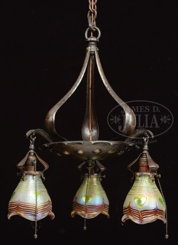 Arts Crafts Chandelier With Loetz Shades Price Estimate 2500 3500 Pinterest Chandeliers Lights And Hammered Copper