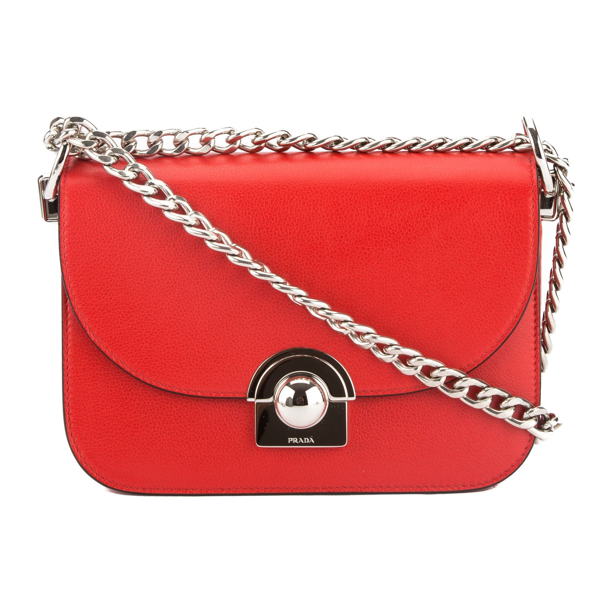 ... best website 731c2 ce154 Prada Lacquer Red Leather Arcade Bag (New with  Tags) ... 04754360645e3