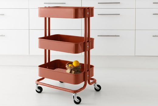 Ikea kitchen islands & carts placed at entry one for each child