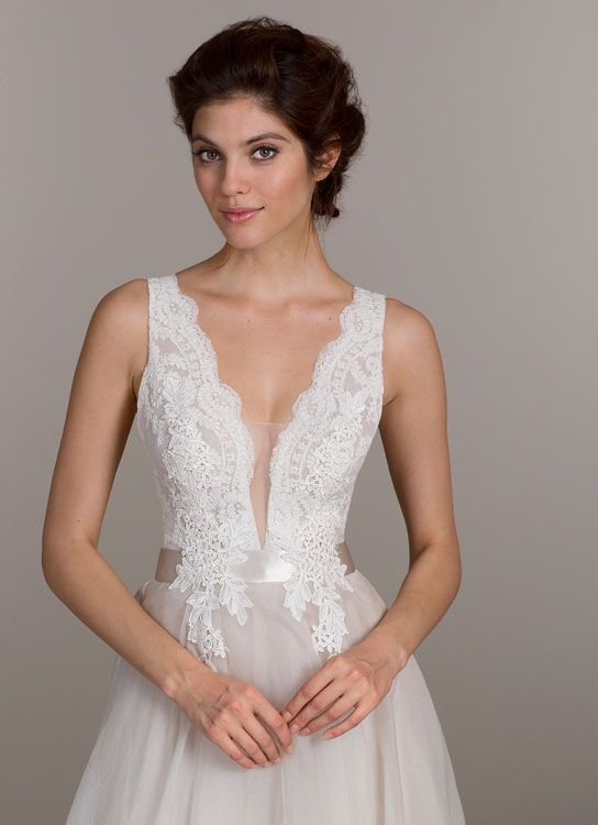 Ivory organza bridal ball gown, Alencon lace bodice with Venise lace applique, deep V plunging neckline, ribbon sash at natural waist and chapel train Bridal Gowns, Wedding Dresses by Tara Keely - JLM Couture - Bridal Style tk2500 by JLM Couture, Inc.