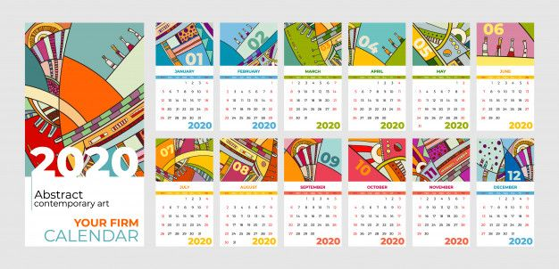 2020 Calendar Abstract Contemporary Art In 2020 2020 Calendar Template Contemporary Art Modern Calendar