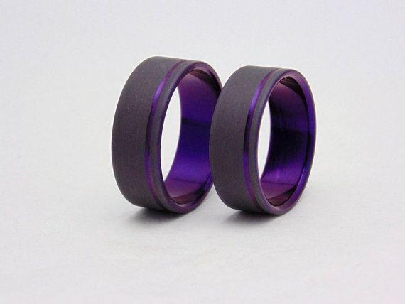 Plum Crazy Purple Wedding Band Set Sandblasted Titanium With