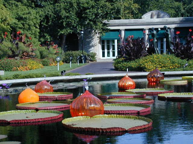 Giant water lilies and floating glass sculptures by Dale Chihuly at the (wonderful) Missouri Botanical Garden (a.k.a. Shaw's Garden) in St. Louis, Missouri, USA.