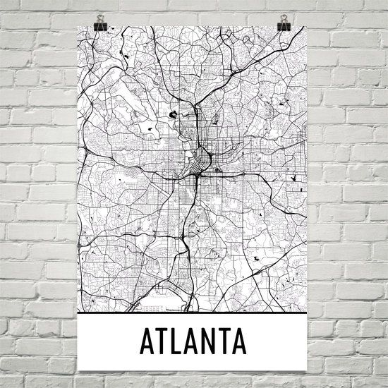 Atlanta Map, Atlanta Art, Atlanta Print, Atlanta GA Poster, Atlanta ...