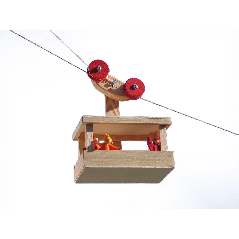 bausatz: große seilbahn mit 2 puppengondeln   holzspielzeug