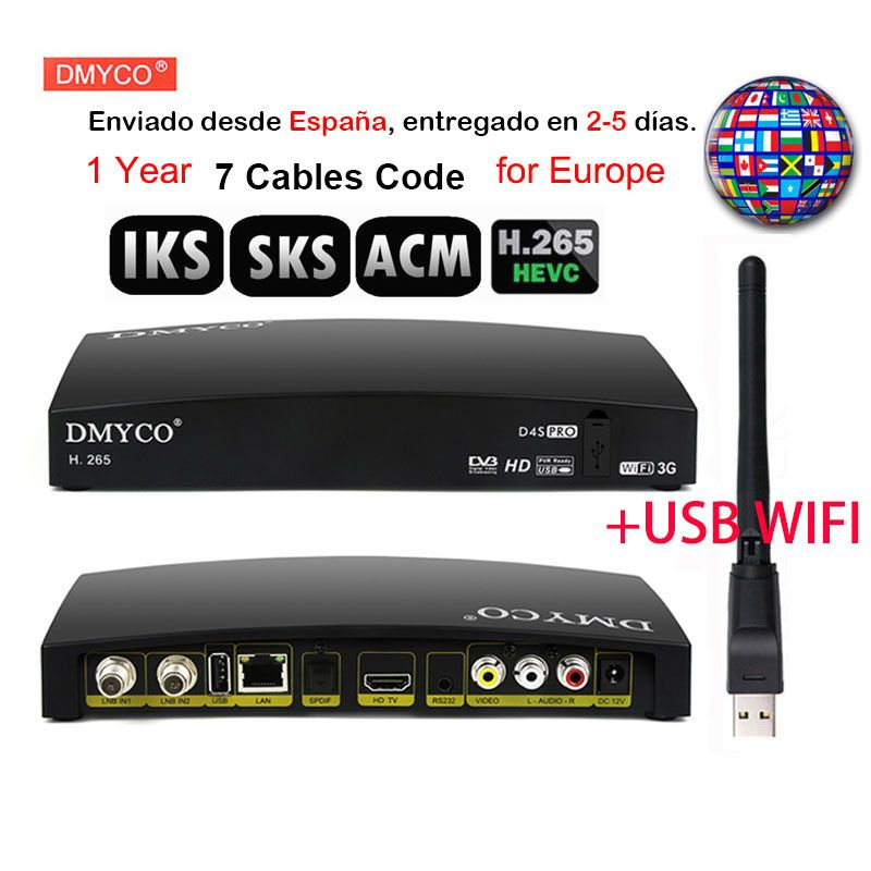 1 Year Europe 7 Cables For Spain D4s Pro Fta Satellite Tv Decoder Dvb S2 Hd 1080p Lnb Receptor Usb Wifi Support H 265 Mpeg 5 Acm Satellite Tv Wifi Satellites