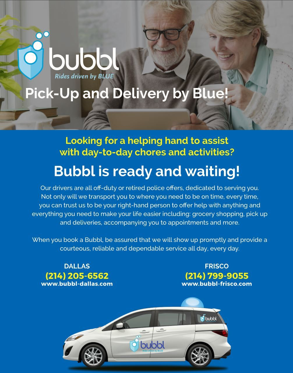 Brand New Service Bubbl PickUp and Delivery! Police