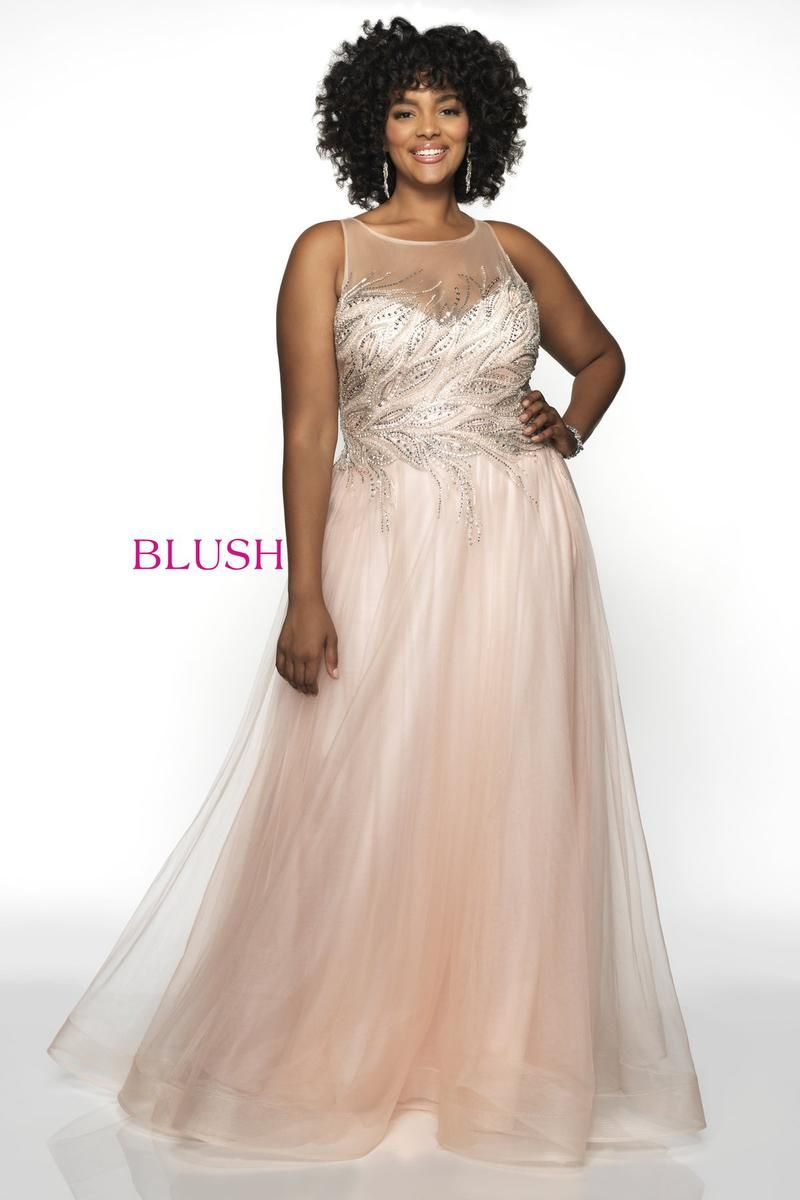 713d2f998916 Style 11748W from Blush Too is a sleeveless illusion Hand Beaded Tulle plus  size prom gown.