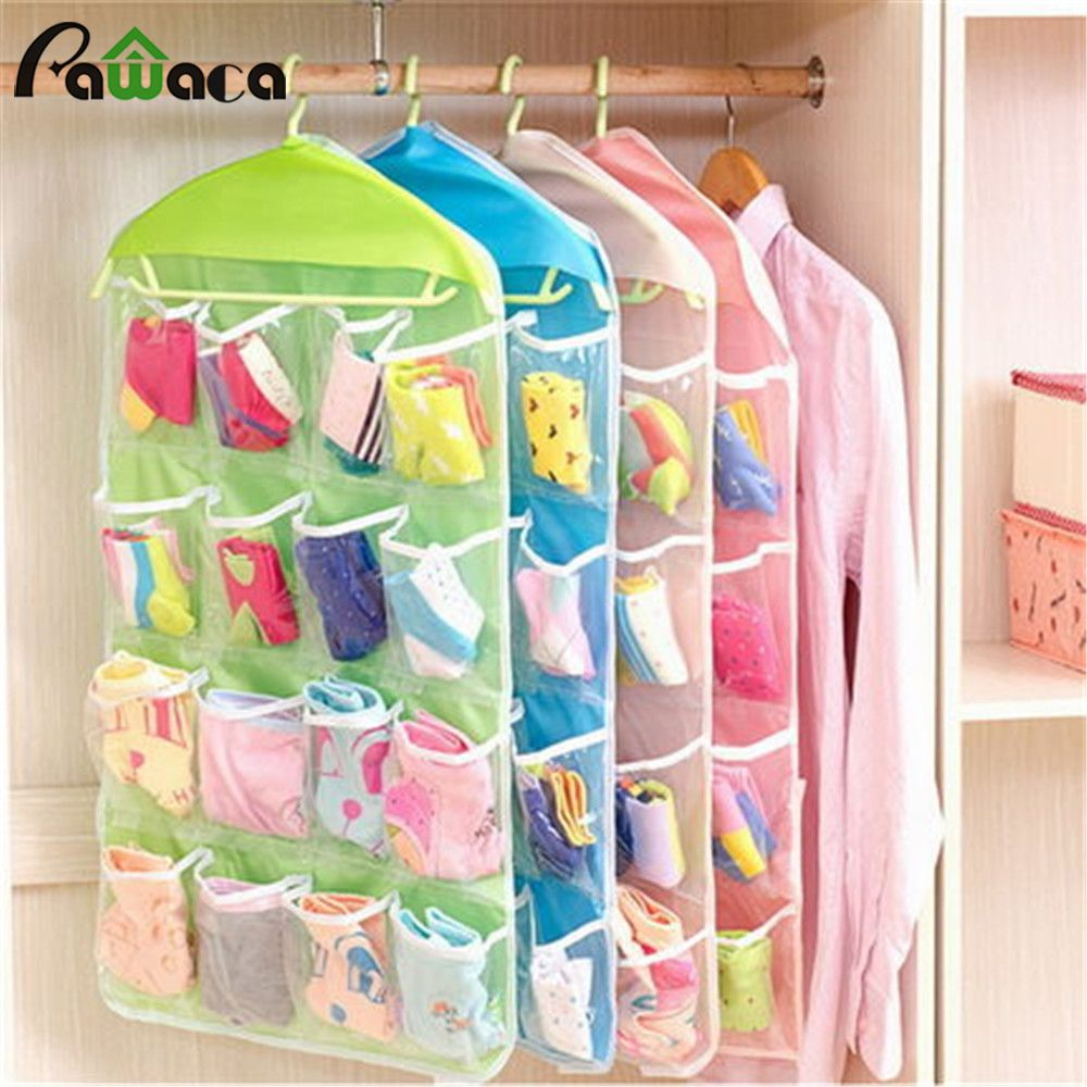 16 Grid Wardrobe Wall Hanging Jewelry Sundries Storage Bags Pockets