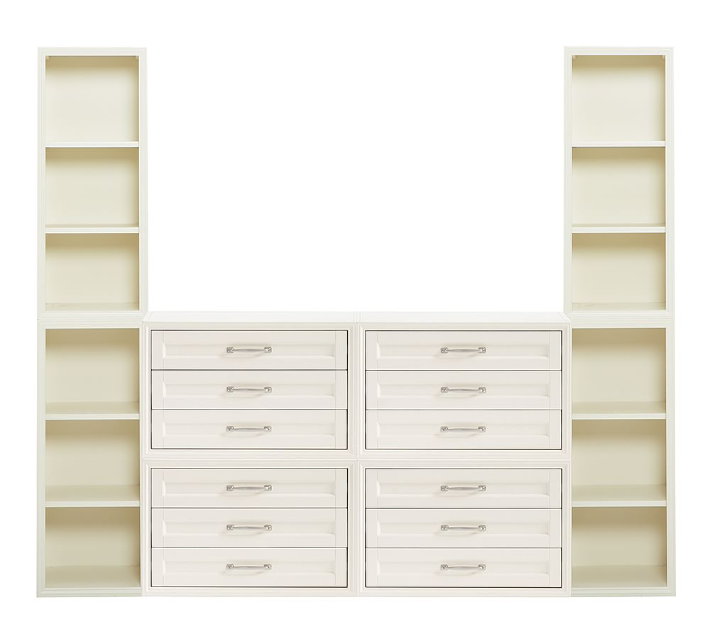 Sutton Closet 12 Drawer And Tall Tower Set White Finish Dresser Chest Of Drawers Armoires Pottery Barn Products In 2019 Pottery Barn Shelves Armo