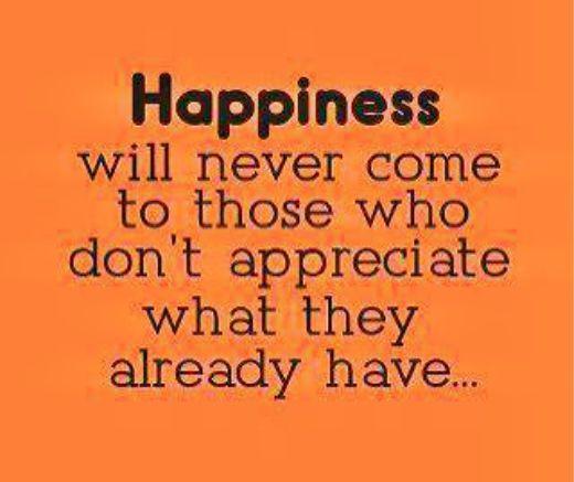 HAPPINESS = APPRECIATE