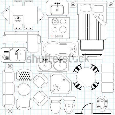 ベクトルのアイコン シンプルな家具 間取り図 概要 クリップ アート