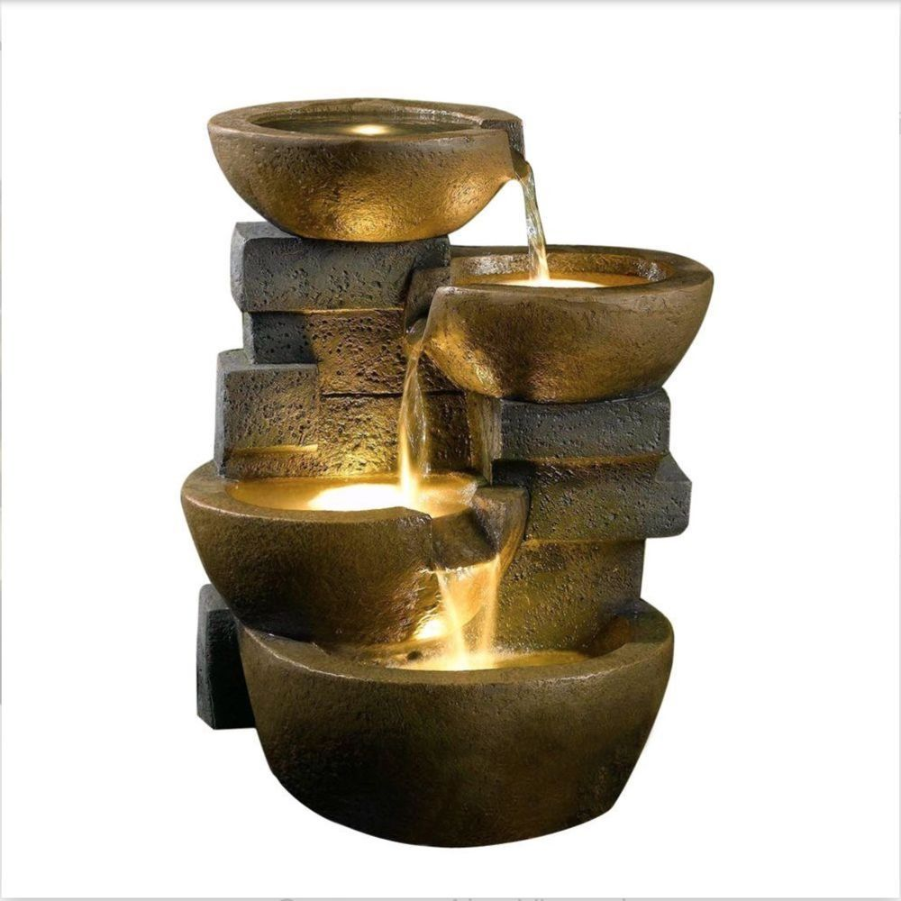 Zen Water Fall Fountain wLED Light Tiered Pots Home Decor
